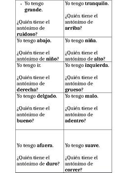 Juego de antónimos/ Antonym game in Spanish
