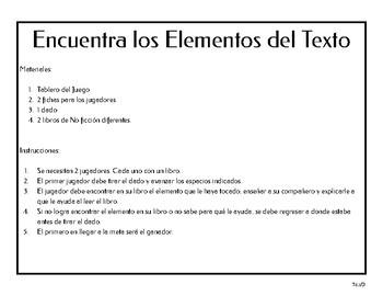 Juego de las características del texto expositivo.