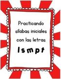 Juego de las sílabas iniciales letras m, p, s, l, t