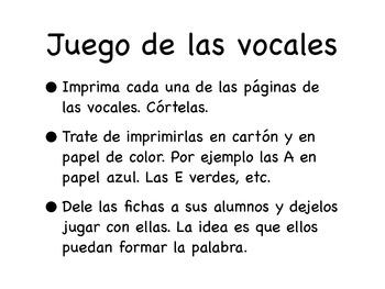 Juego de las vocales/ Spanish Vowel game.