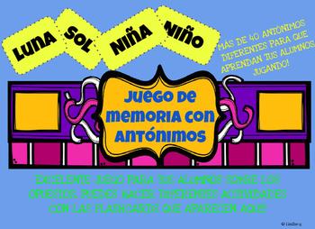 Juego de memoria de los Antonimos!