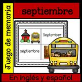 Juego de memoria - septiembre en ingles y espanol