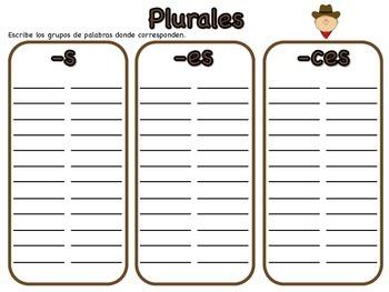Juego de plurales (-s, -es, -ces)