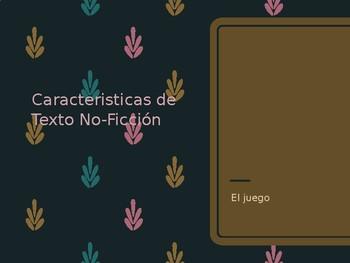 Juego de repaso: Caracteristicas de Texto No Ficcion