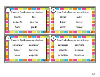 Spanish Synonyms & Antonyms Games and Activities