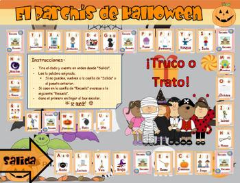 Juego de vocabulario Halloween - Parchis