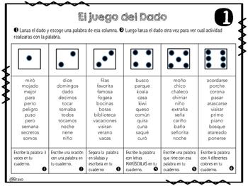 Juego del Dado / Roll and Write