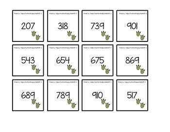Juego usando el valor de posición de los números.¡En Español! versión dinosaurio