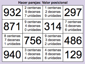 Juegos de parejas/memoria: Unidades, decenas, centenas y millares