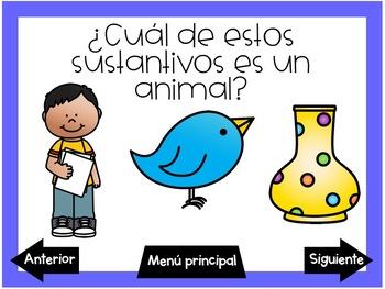 Juegos digitales de sustantivos (Nouns Interactive PDF Games in Spanish)