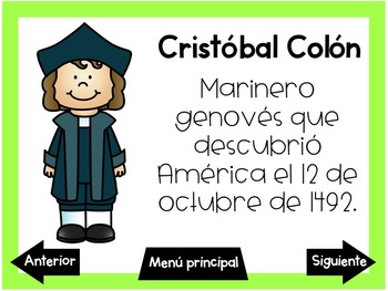 Juegos digitales del descubrimiento de America (Columbus Day interactive games)