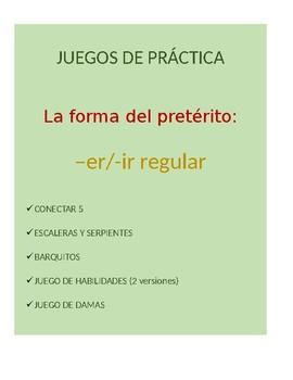 Juegos for Spanish Grammar: -er/-ir regular preterite conjugation practice
