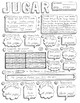 Jugar Spanish verb doodle conjugation translation no prep printable