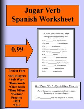 jugar worksheet spanish by brittany baxter teachers. Black Bedroom Furniture Sets. Home Design Ideas