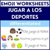Spanish Sports Worksheet (Jugar a los deportes) with Emoji Puzzles