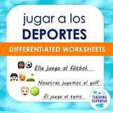 Spanish Sports Worksheet (Jugar a los deportes) with Emoji Puzzles