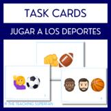 Spanish Sports (Jugar a los deportes) Task Cards with Emojis