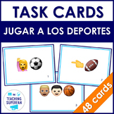 Spanish Sports (Jugar a los deportes) Task Cards with Emoji Puzzles