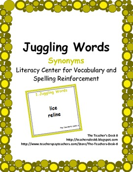 Juggling Words (Synonyms) Literacy Center for Vocabulary Reinforcement