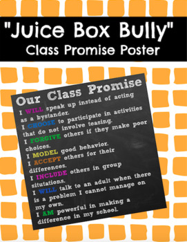 Juice Box Bully Class Promise Poster and Pledge Page
