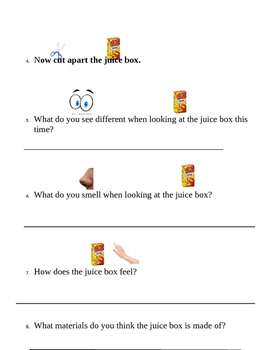 Juice Box Science Project Using 5 Senses