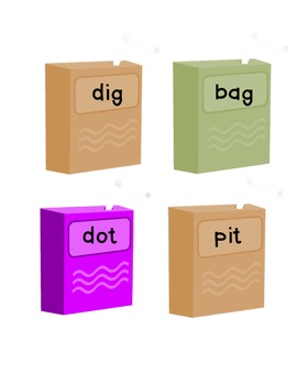 Juice Box Word Sort (short vowels a, o, i)