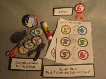 Juice Lid Award Badges. First, Second, and Third place. Fun Craft Art FREE