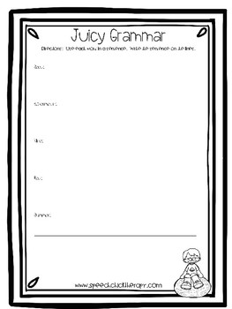 Juicy Grammar Worksheet for Speech Therapy