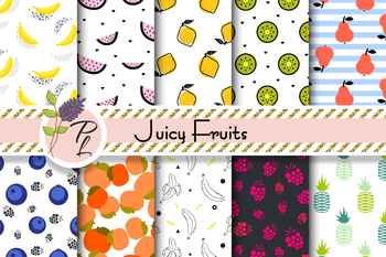 Juicy Pop Art Fruits Seamless Pattern Set. Digital paper pack.