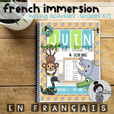 French Immersion Writing Activities Kindergarten / Grades 1 Animal Theme