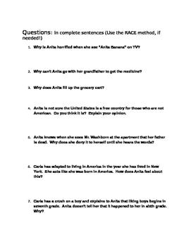 Julia Alvarez ~ Before We Were Free Chapters 10-11 Materials COMMON CORE