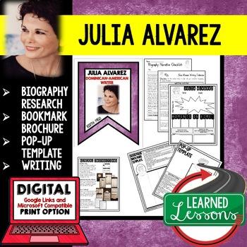 Julia Alvarez Biography Research, Bookmark, Pop-Up, Writing