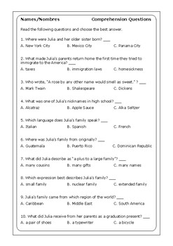 14++ Names nombres by julia alvarez worksheet answers Ideas In This Year