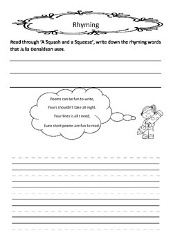 Julia Donaldson A squash and a squeeze comprehension Literacy circle close