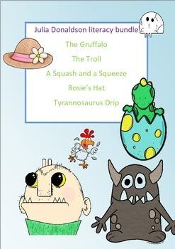 Julia Donaldson huge literacy study bundle, 5 books plus writing scaffold