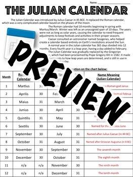 Julian Calendar Worksheet