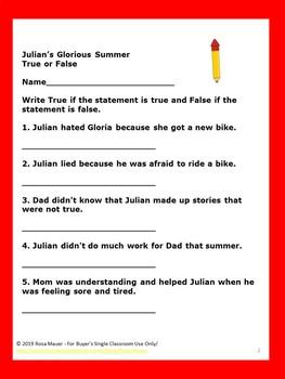 Julian's Glorious Summer Free Quiz