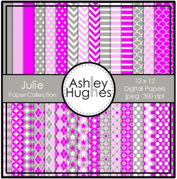 12x12 Digital Paper Set: Julie Collection {A Hughes Design}