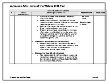 Julie of the Wolves - Unit Plan