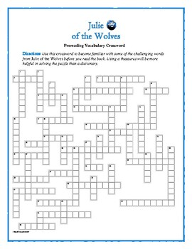 Julie of the Wolves: 50-word Prereading Crossword—Great Prep for the Book!