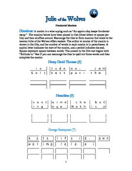 Julie of the Wolves: 6 Fractured Maxims Word Puzzles—Unique Theme Activity!