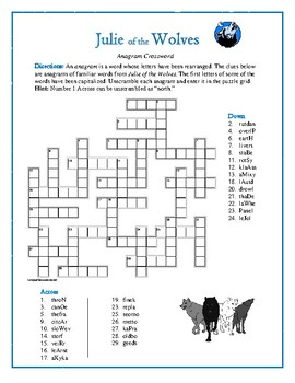 Julie of the Wolves Anagram Crossword—Unique Spelling Challenge!
