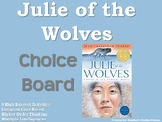 Julie of the Wolves Choice Board Novel Study Activities Menu Book Project