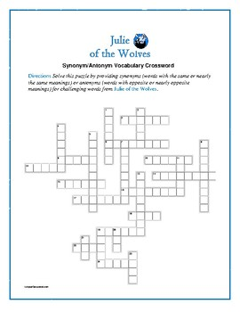 Julie of the Wolves: Synonym/Antonyn Crossword--Pair with Bookmarks Plus!