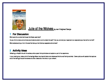 Julie of the Wolves for Literature Circles