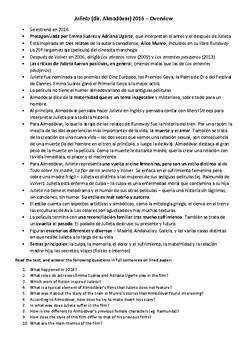 Julieta Almodóvar Background notes Spanish reading comprehension