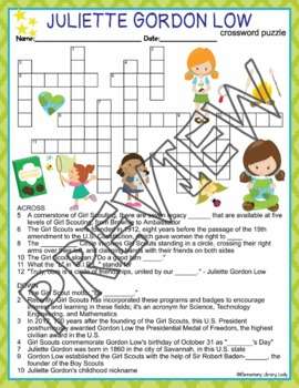 Juliette Gordon Low Girl Scouts Crossword Puzzle and Word Search Find Activities