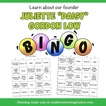 "Juliette ""Daisy"" Gordon Low Bingo Game"