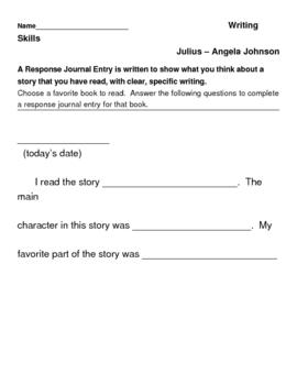 Julius - Angela Johnson - Writing Skills Response Journal Entry - HMR