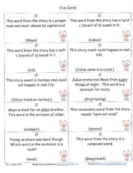 Julius Bingo Game ~ Language Arts Activity